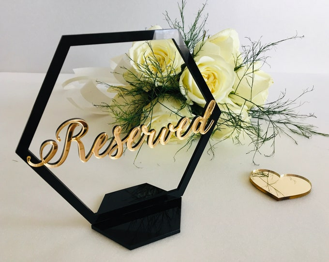 Wedding Reserved Sign on Stand Geometric Hexagon Laser Cut Table Centerpieces Freestanding Reception Decorations Table Numbers Seating Plan