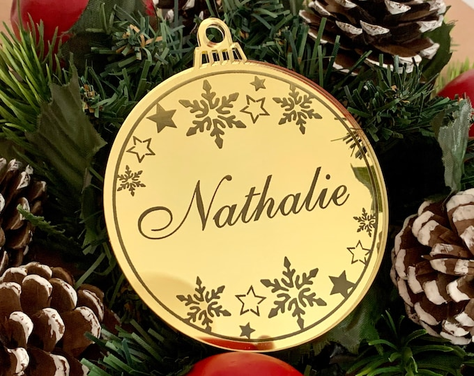 Personalized Christmas Tree Ornament Engraved Custom Name Holiday Decorations Mirrored 2020 Xmas Bauble Snowflake Christmas Family Gift Tags