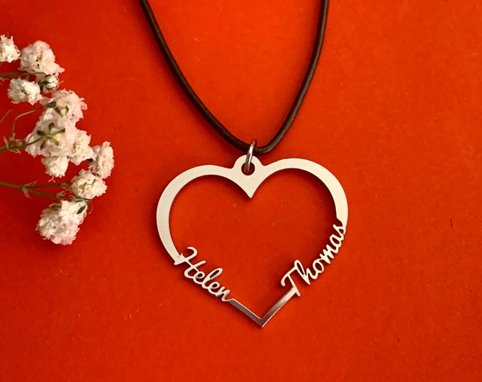 Personalized 2 Names on Heart Pendant Necklace Custom Two Laser Cut Names Handmade Jewelry Birthday Girlfriend Gift Stainless Steel