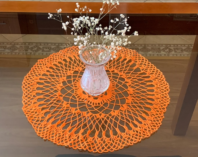 Orange Round Doily Crocheted Handmade Tablecloth Home Decoration Living Room, Kitchen Decor Table Centerpiece Crochet Placemat Gift for Mom