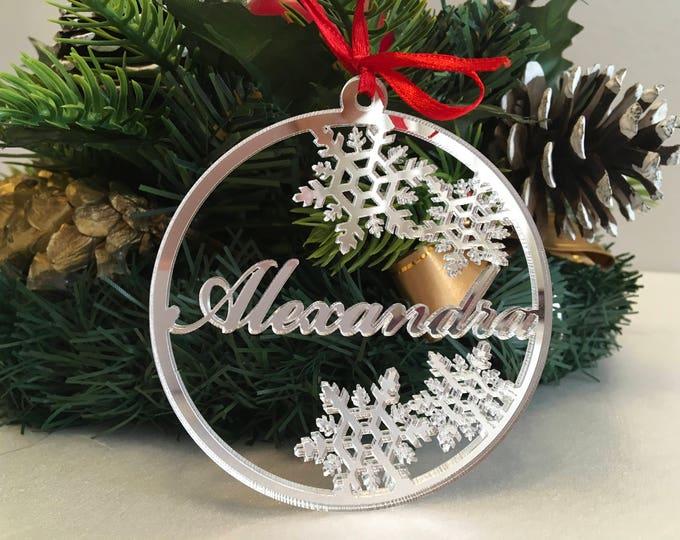 Christmas ornaments Personalised Christmas Name Baubles Silver Handmade Xmas Decorations Custom Snowflakes Name Tree decorations Xmas gifts