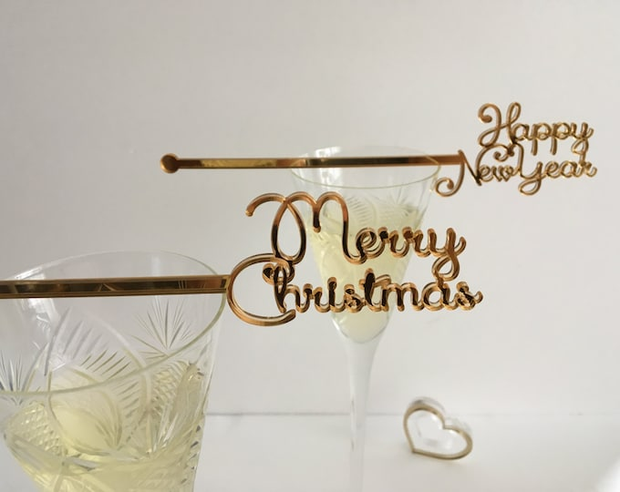 Christmas Swizzle Sticks Drink Stirrers Happy New Year Tag Merry Christmas Decoration Wedding Drink Cocktail Stir Stick New Year Party Decor