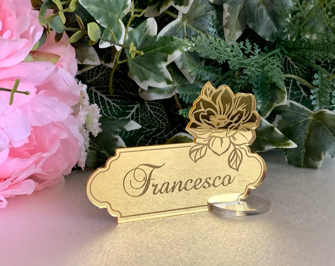 Personalized Wedding Acrylic Place Card Holders Freestanding Engraved Flower Guest Names Mirror Escort Cards Custom Name Settings Clear Base