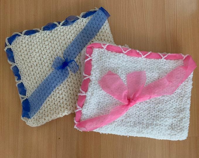 Handmade Crochet Baby Blanket, Baby Boy Blanket, Baby Girl Blanket, Baby Shower Gift, Blue Pink, Hand Crocheted Baby Blanket, New Baby Born