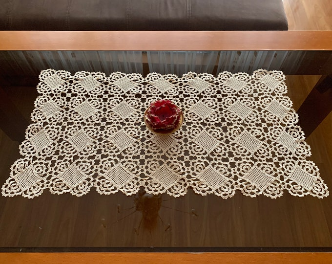 Vintage Lace Doily Crochet Handmade Beige Tablecloth Lace Doilies Table Home Decorations Gift for Mom, Mothers day Gift Coffee Table Setting