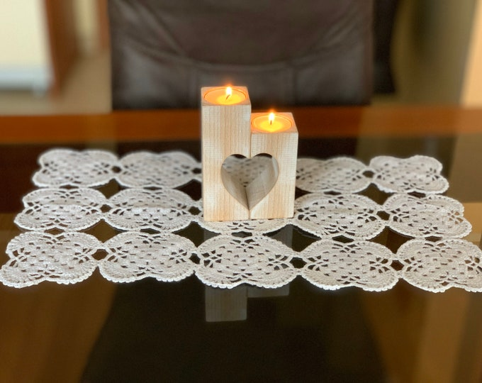 Christmas Gift Set of Wooden candle holder & White lace doily crochet Tablecloth Wood heart candle holders Gift for Mom Wedding gift Ideas