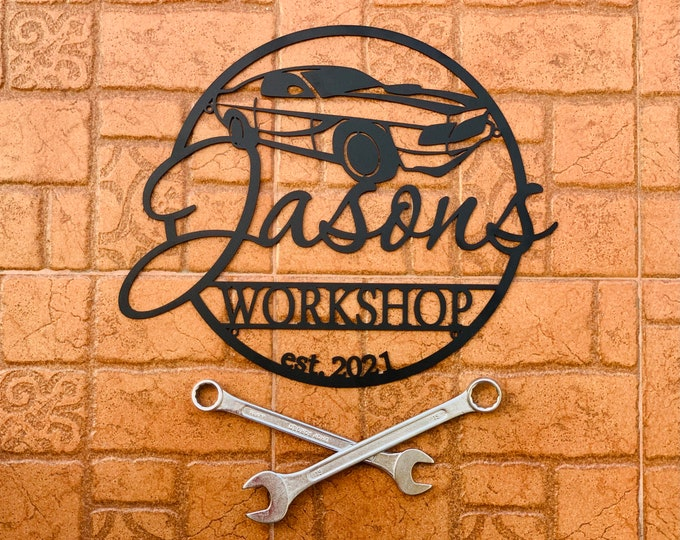 Custom Garage Est Sign Personalized Workshop Name Sign Gift for Dad Metal Wall Art Housewarming Plaque Car Shop Decor Man Cave Birthday Gift