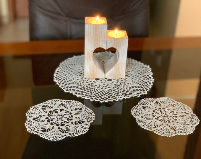 Set of 3 Handmade beige round lace crocheted doilies and one wood heart candle holder Table decorations Vintage Tea light holders Gift set