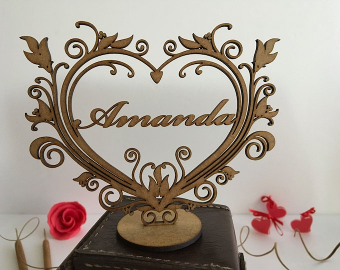 Personalized wood freestanding heart Laser cut Personalised ornament Valentines day gift Wood shape Custom name sign Shabby chic heart decor