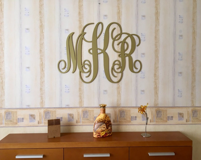 Gold Monogram Vine Script Monogram 3 Letter monogram Wedding Decor Large Custom Wood Wedding monogram Wall Door Hanger Initials Wall hanging