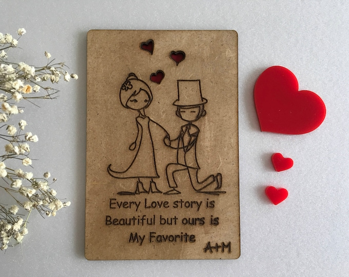 Valentines Day Cards Love Story 1st Anniversary Cards Personalized Wood Card Engraved Initials Love greeting card for couple Gift for her