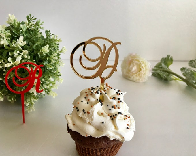 Personalized Birthday Cupcake Toppers Any Letter Wedding Initial Cake Centerpiece Bridal Shower Baby Party Picks Monogram Custom Decorations