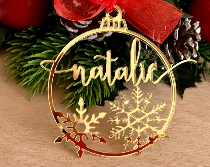 Personalized Christmas Tree Ornament Custom Calligraphy Name Holiday Decorations Laser Cut Xmas Bauble Snowflake Christmas Family Gift Tags