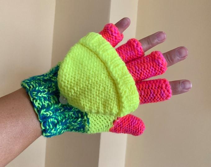 Convertible Gloves Hand Knit Fingerless Gloves for Girl, Kids Knitted Gloves Convertible Mittens Winter Color Fingerless Mitten Hand Warmers