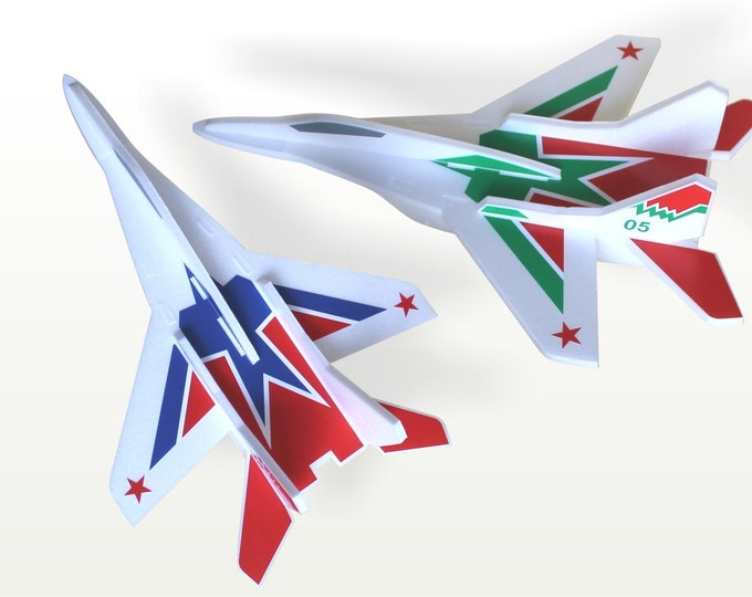 Airplane toys Gift for a boy Air plane model MiG Kids Party Decorations Air Jet Set of 2 planes Aircraft Model Kit Kids Gift Ideas Glider