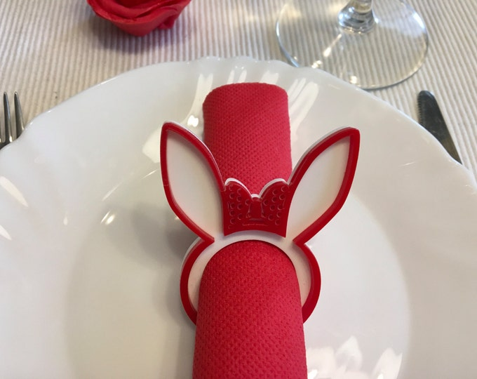 Happy Easter Holiday Bunny Ears Napkin Ring Holders Laser Cut Bunny Head Rabbit Easter Decorations Dinner Party Easter Day Gifts Tableware