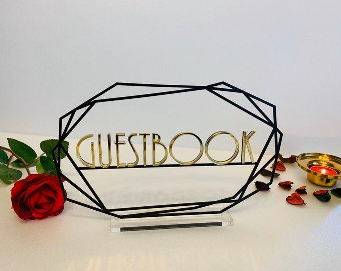 Guestbook Table Sign Wedding Guest Book with Base Custom Metal Sign Freestanding Personalized Laser Cut Reception Decorations Table Numbers