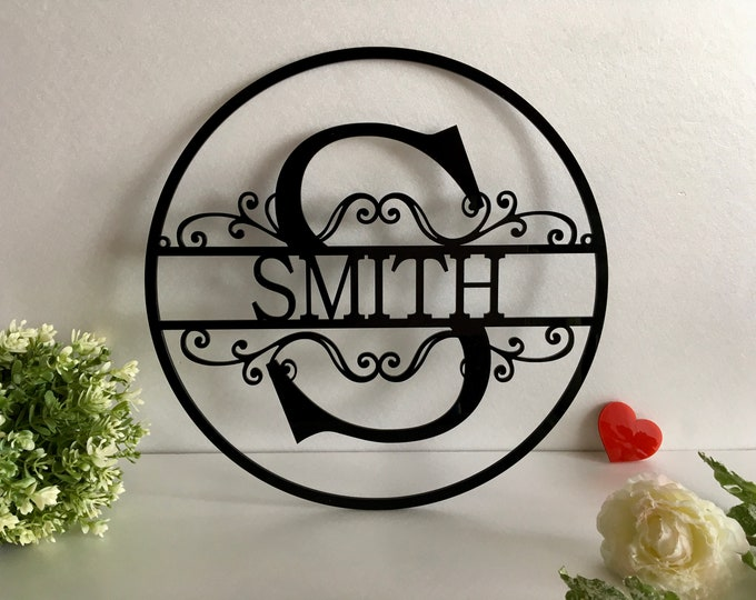 Personalized Last Name Family Signs Metal Initial Split Letter Outdoor Custom House Monogram Hanging Front Door Wreath Wedding Gift Garden