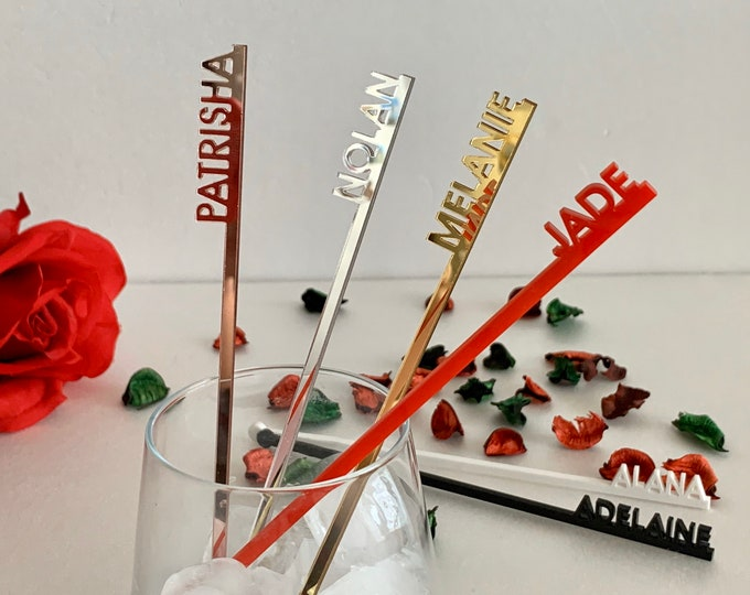 Personalized Drink Stirrers Custom Name Acrylic Swizzle Stir Stick Cocktail Accessory Wedding Birthday Party Decorations Bachelorette Tags