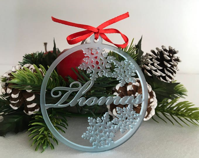 Personalised Christmas baubles Frosted  Acrylic names Baby blue Gift tags Custom ornaments Personalized name tree decorations Christmas gift