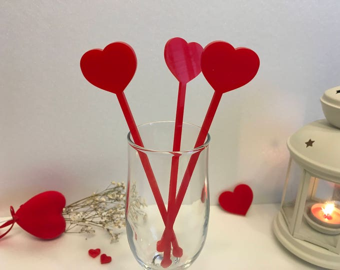 Heart Centerpiece Picks Valentines Day Party Decor Drink Stirrers Cocktail Swizzle Stir Sticks Laser cut Acrylic Heart on Stick Bachelorette