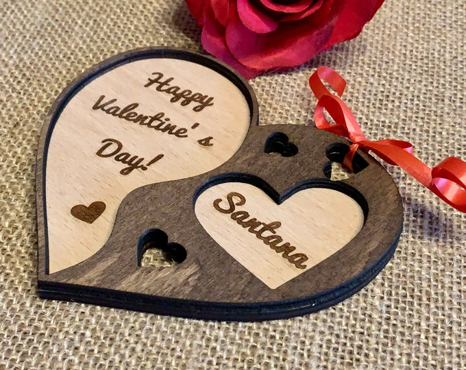 Custom Wooden Hanging Heart Ornament and Personalized Engraved Name Happy Valentine's Day Love Card Gift for Her Wood Rustic Handmade Heart