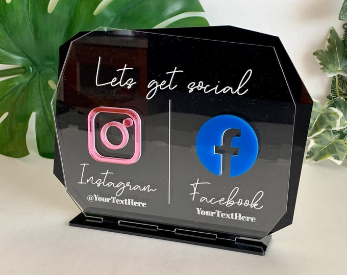 Personalized Instagram Sign Facebook Name Sign Duo Social Media Icons Small Business Logo Table Signage Office Salon Sign Hashtag Weddings