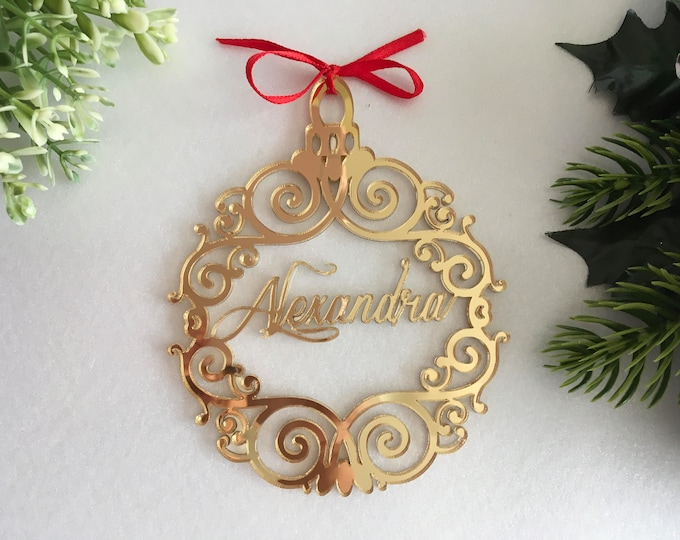 Personalized Christmas name bauble Custom ornament Tree decorations Gold mirror acrylic baubles Hanging home decor Personalised gift for her