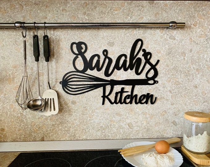 Custom Kitchen Name Sign Personalized Metal Indoor Sign for Kitchen Wall Art Decor Farmhouse Mothers Day Mom's Gift for Grandma Chef Name