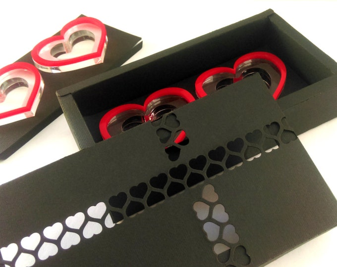 Valentines day gift ideas Wedding heart decor Napkin Ring Holders Red Heart Napkin Rings Gift for Mom Black Handmade Gift Box Set of 6 rings
