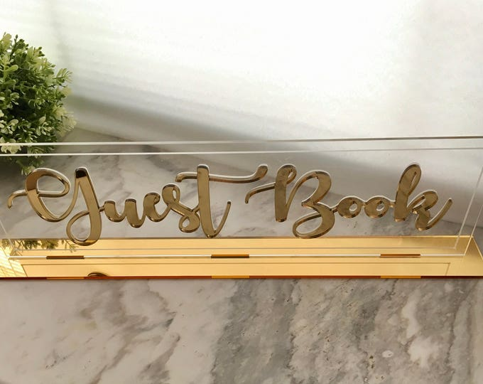Clear Acrylic Wedding Guestbook 3D Cutout Letters Table Sign Base Gold Centerpiece Freestanding Decorations Custom Reception Calligraphy Tag