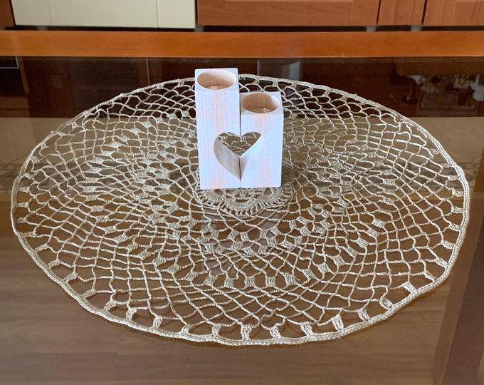 Handmade Olive Green Doily Crochet Delicate Cotton Tablecloth Home Decoration Doilies Table Round Centerpiece Crocheted Lace Gift for Mom