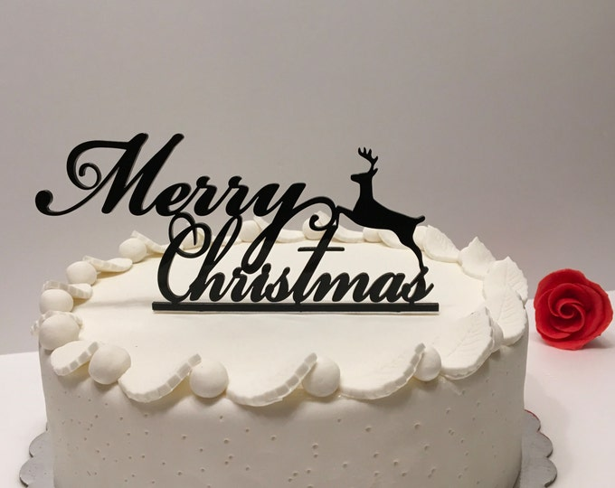 Christmas Cake Topper Custom Reindeer Personalized Christmas Party Xmas Cake Centerpiece Merry Christmas Table Decorations Home Decor
