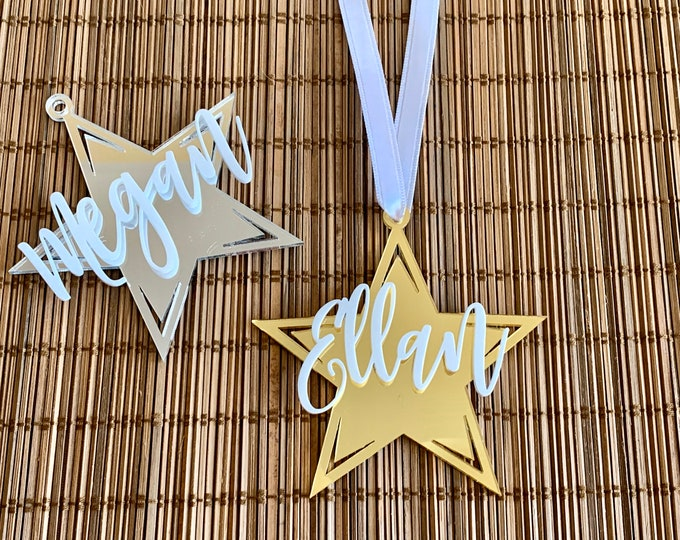 3D Custom Acrylic Ornament Personalized Stars Handmade Laser Cut Names Tree Decorations Hanging Holiday Ornaments Family Christmas Gift Tags