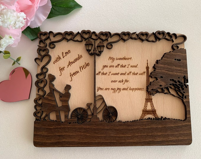 3D Personalized Engraved Wooden Love Postcards Happy Valentines Day Gift Wood Holiday Card Rustic Postcard Romantic Paris Anniversary Cards