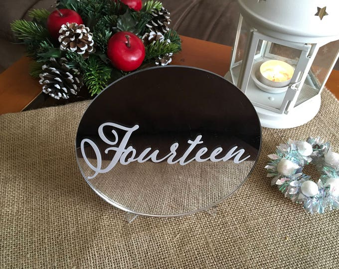 Wedding Table Numbers Silver Circle Number Centerpieces Winter wedding Calligraphy sign Elegant Engraved Word Table Numbers with Clear Stand