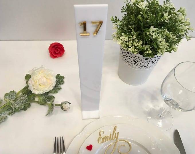 White wedding table numbers White and gold party decor Elegant freestanding numbers Gold mirror Tall acrylic table number stand Wedding sign