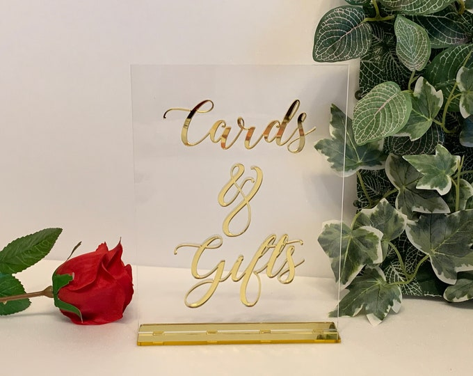 Cards & Gifts Table Sign Gold Wedding Freestanding Acrylic Sign Reception Decor Calligraphy Table Decoration Any Color 23 Available Fonts