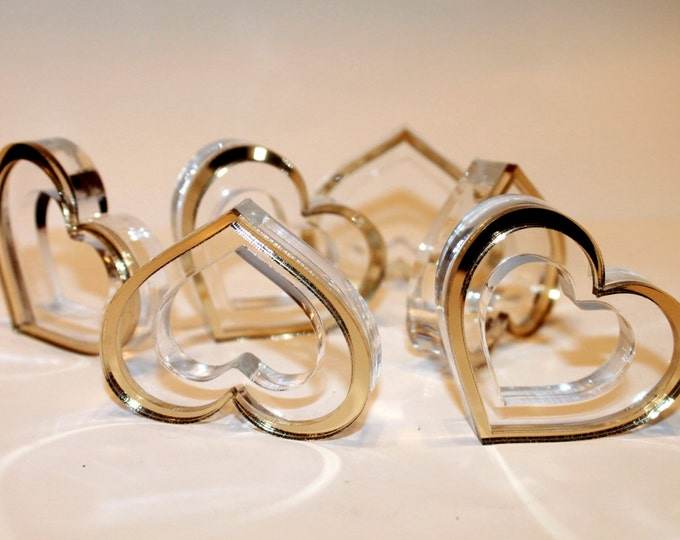 Gold wedding napkin rings Heart napkin ring holders Valentines day gift Dinner holders Valentine Centerpiece Table decorations Gold weddings