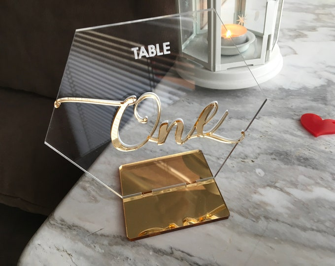 Hexagon Wedding Table Numbers Geometric Calligraphy Gold Mirror Clear Acrylic Signs Modern Centerpieces Luxury Decorations Laser Engraved