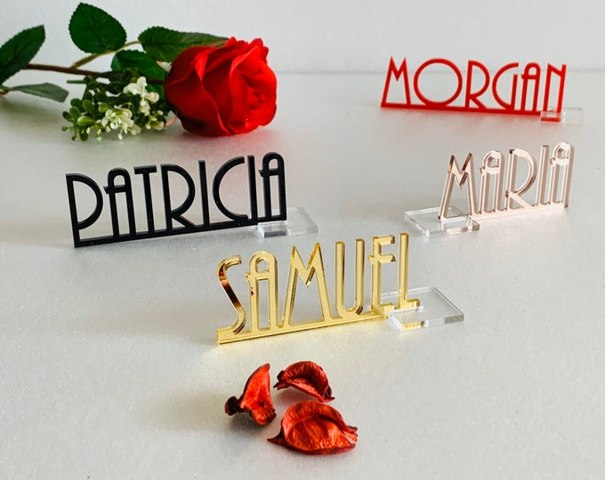 Personalized Laser Cut Place Cards Custom Wedding Table Names Mirror Acrylic Place Name Settings Event Party Decorations Free Standing Signs