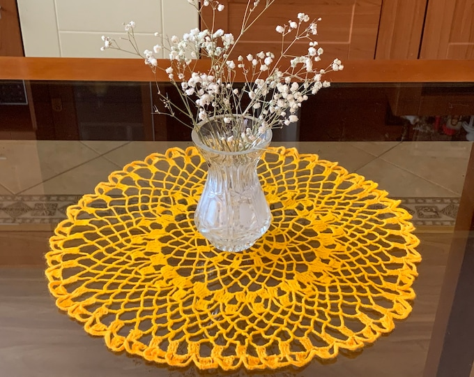 Yellow Round Doily Crocheted Handmade Tablecloth Home Decoration Living Room, Kitchen Decor Table Centerpiece Crochet Placemat Gift for Mom