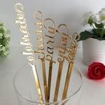 Personalized swizzle sticks Valentine table centerpiece Party picks Name drink stirrers Bridal shower Custom love stir stick Wedding decor