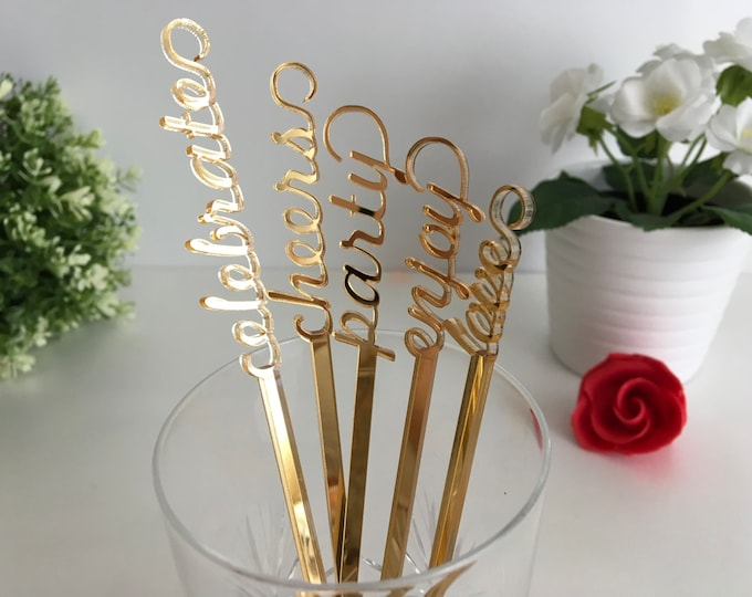 Personalized swizzle sticks Valentine table centerpiece Party picks Name drink stirrers Bridal shower Custom love stir stick Wedding decor