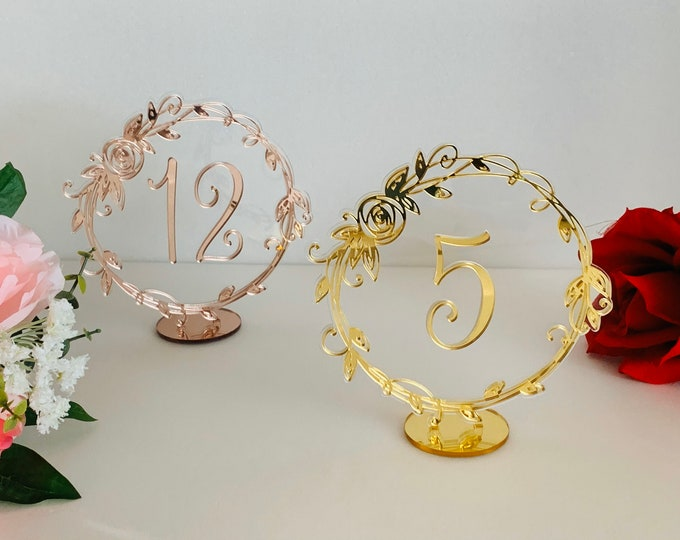 Laser Cut Wedding Table Numbers for Party Event Beautiful Table Signs Table Settings Laser Cut Acrylic Centerpieces Base Stand Flower Frame