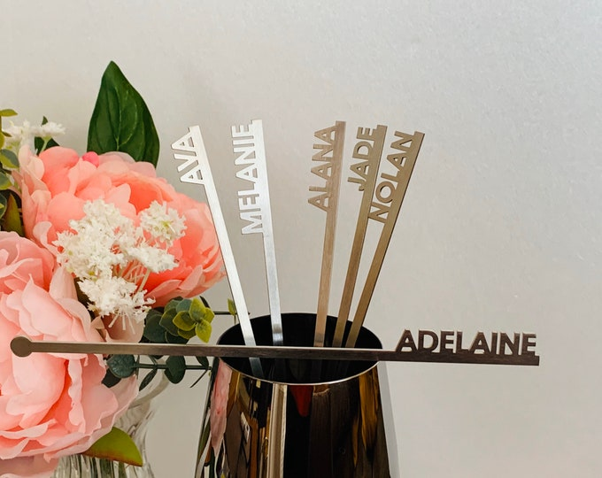 Stainless Steel Personalized Drink Stirrer Custom Name Metal Swizzle Stir Stick Silver Cocktail Drink Accessories Barware Party Decoration