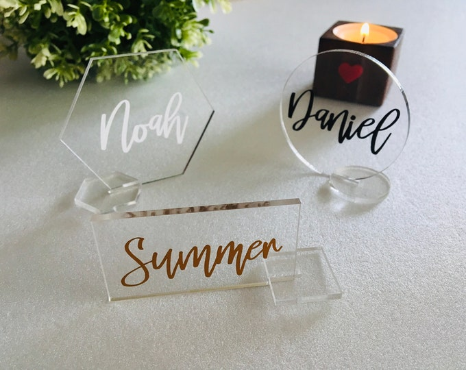 Personalized Clear Acrylic Place Card Holders Stand Geometric Wedding Freestanding Laser Cut Guest Names Escort Cards Custom Name Settings