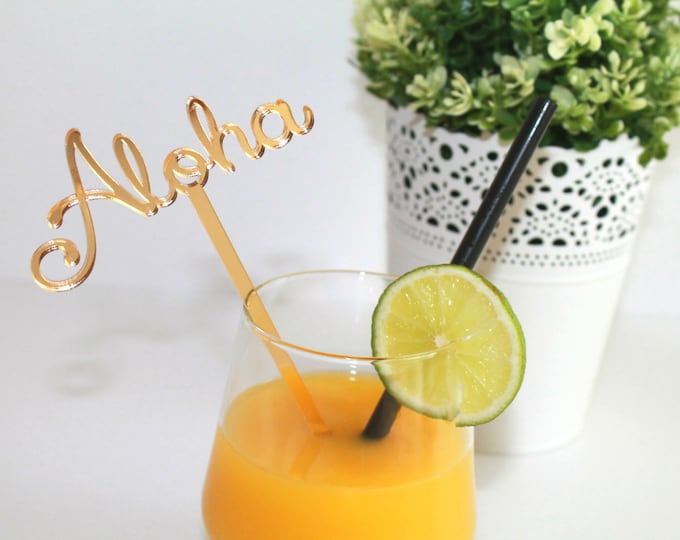 Aloha party Personalized Aloha Luau birthday party Drink Stirrers Beach Cocktail Sticks Beach wedding Tropical Hawaiian Party Decorations