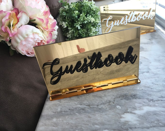Wedding Guestbook Mirror Table Sign 3D Cutout Letters White Black Gold Centerpiece Freestanding Decorations Custom Reception Calligraphy Tag