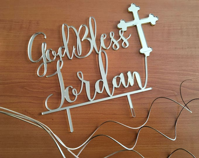 Personalized God Bless Cake Topper Baptism centerpiece Christening Name Topper 1st  First Holy Communion Religious Topper Cross Cake Topper